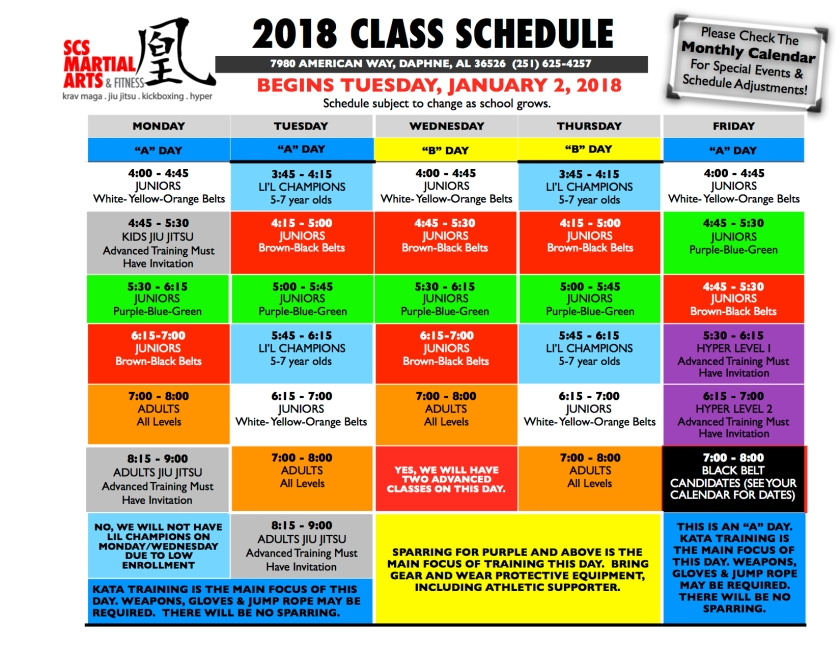 CLASS SCHEDULE JANUARY 2018
